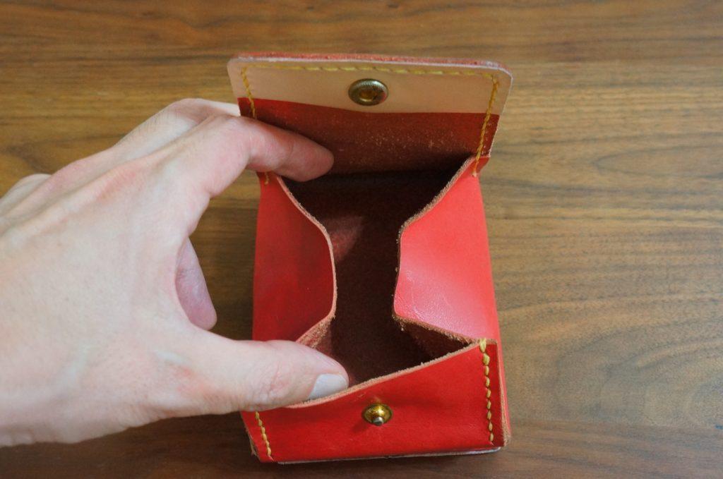 赤色レザーウォレット小銭入れパーツ