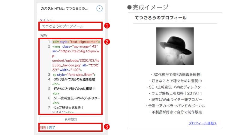 WordPressカスタマイズ プロフィール