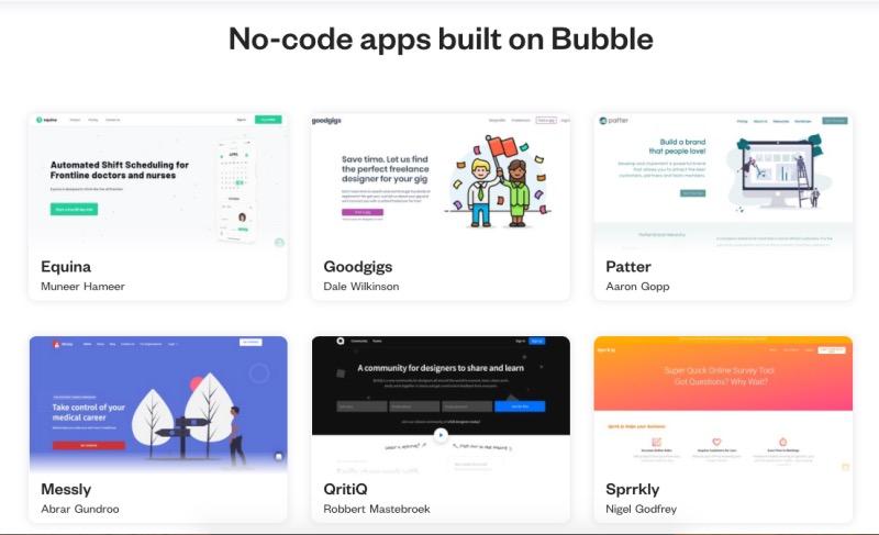 Bubbleで作られたアプリ例