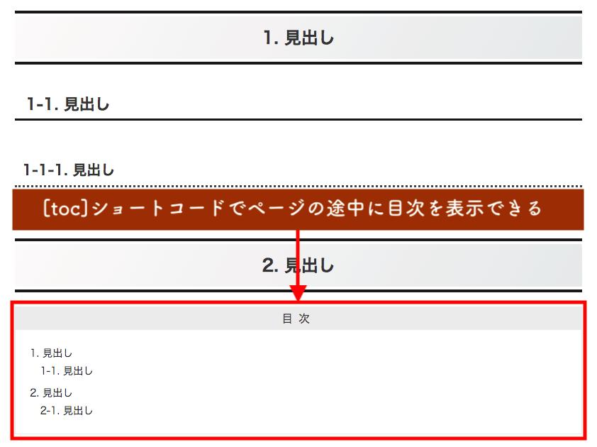 "<div class=""toc tnt-none tnt-none border-element""><div class=""toc-title"">目次</div>     <div class=""toc-content"">     <ul class=""toc-list open""><li><a href=""#toc1"" tabindex=""0"">1. 【Cocoon】目次のカスタマイズ方法</a></li><li><a href=""#toc2"" tabindex=""0"">2. Cocoonで目次を表示する方法</a></li><li><a href=""#toc3"" tabindex=""0"">3. 目次の設定やデザインを変更する方法</a><ul><li><a href=""#toc4"" tabindex=""0"">3-1. 目次の設定</a></li><li><a href=""#toc5"" tabindex=""0"">3-2. 目次のデザインをカスタマイズ</a></li></ul></li><li><a href=""#toc6"" tabindex=""0"">4. サイドバーで追従させる方法</a></li><li><a href=""#toc7"" tabindex=""0"">5. まとめ</a></li></ul>     </div>   </div>ショートコードでページの途中にも目次を表示"